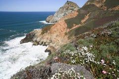 Devil's Slide sheer cliffs, coastal promontory, San Mateo County, California Royalty Free Stock Images