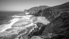 Devil`s Slide sheer cliffs and pacific coast in San Mateo County Royalty Free Stock Photos