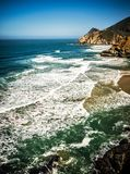 Devil`s Slide sheer cliffs and pacific coast in San Mateo County. California stock photography