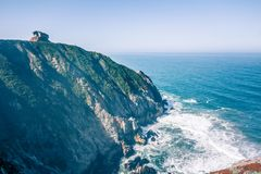 Devil`s Slide sheer cliffs and pacific coast in San Mateo County. California royalty free stock images