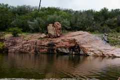 The Devil`s Swimming Hole. In Ink`s Lake State Park, Texas there is a place called the Devil`s Swimming Hole. This photograph was made there stock photo