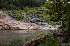 The Devil`s Swimming Hole. In Ink`s Lake State Park, Texas there is a place called the Devil`s Swimming Hole. This photograph was made there royalty free stock images