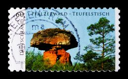 Devil`s Table at Hinterweidenthal, Palatinate Forest, Wild Germany serie, circa 2014. MOSCOW, RUSSIA - OCTOBER 21, 2017: A stamp printed in German Federal Stock Image