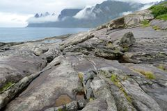 Devil`s Teeth on Senja island, Ersfjord, Norway royalty free stock images