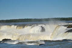 Devil's Throat. Side view of the Devil's Throat at Iguazu Water Falls Stock Images