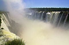 Devil's throat at Iguazu falls in Argentina with flocks of swifts Stock Images