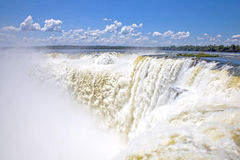 Devil's Throat, Iguazu falls, Argentina, South America. Looking down the Devil's Throat at the cascading water, Iguassu or Iguazu falls, Argentina royalty free stock images