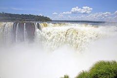 Devil's Throat, Iguazu falls, Argentina, South America. Looking towards the Devil's Throat with thundering water cascading down the falls, Iguazu falls stock photos