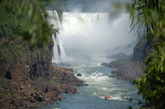Devil´s Throat Panoramic View. Devil´s throat at world largest Waterfalls Falls in Iguazu on a bright sunny day Stock Photos