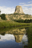 Devil's Tower reflection Royalty Free Stock Images