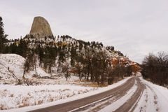 Devil`s Tower Winter Scene Wyoming Butte Stock Photography