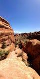 Devil& x27; s Tuin Trailhead, Bogen Nationaal Park, Moab Royalty-vrije Stock Afbeelding