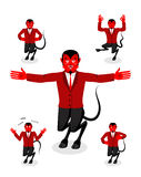 Devil set of poses. Satan set of movements. Horned demon express Royalty Free Stock Images