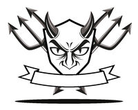Devil shield badge Royalty Free Stock Photography