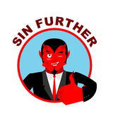 Devil shows well. Sign all right. Sin Further.  Stock Photography