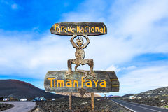 Devil sign by entrance Timanfaya National Park in Lanzarote Royalty Free Stock Images