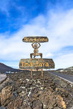 Devil sign by entrance Timanfaya National Park in Lanzarote Stock Photo