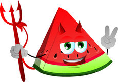 Devil slice of watermelon gesturing the peace sign Royalty Free Stock Image