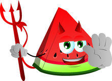 Devil slice of watermelon holding a stop sign Royalty Free Stock Photography