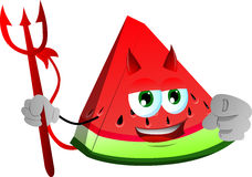 Devil slice of watermelon pointing at viewer Royalty Free Stock Photography