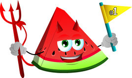 Devil slice of watermelon sports fan with flag Stock Photos