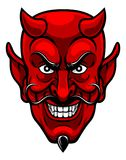 Devil Sports Mascot. A devil cartoon character sports mascot face with an evil grin Stock Photography