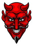Devil Sports Mascot. A devil cartoon character sports mascot face with an evil grin Stock Photo