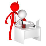 Devil standing behind office worker. Unfair business concept. Isolated Stock Photos
