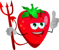 Devil strawberry with attitude Royalty Free Stock Images