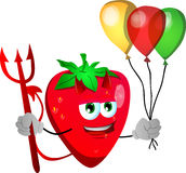 Devil strawberry with balloons Stock Photography