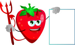 Devil strawberry with blank board Stock Image