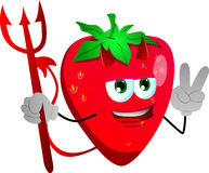 Devil strawberry gesturing the peace sign Stock Photography