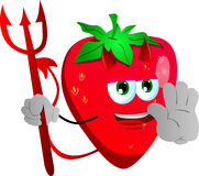 Devil strawberry holding a stop sign Stock Photography