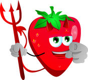 Devil strawberry pointing at viewer Royalty Free Stock Photo