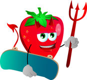 Devil strawberry with skateboard Royalty Free Stock Photography