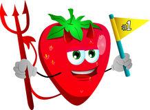 Devil strawberry sports fan with flag Stock Photography