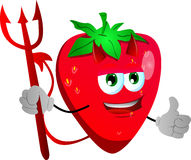 Devil strawberry with thumb up Royalty Free Stock Images