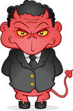 Devil in a Suit. A young devil imp in a business suit, a metaphor for corporate greed Stock Image