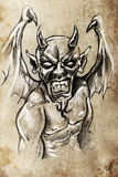Devil, Tattoo sketch, handmade design Stock Image