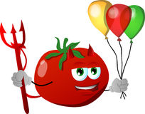Devil tomato with balloons Stock Image