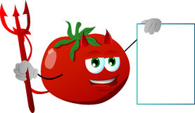 Devil tomato with blank board Stock Image