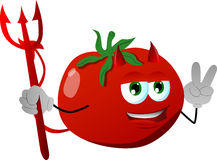 Devil tomato gesturing the peace sign Royalty Free Stock Image