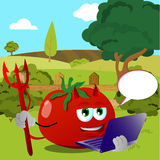 Devil tomato holding laptop on a meadow Royalty Free Stock Image