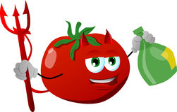 Devil tomato holding strong drink Royalty Free Stock Photos