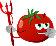 Devil tomato pointing at viewer Royalty Free Stock Image