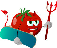 Devil tomato with skateboard Royalty Free Stock Photos