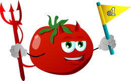 Devil tomato sports fan with flag Royalty Free Stock Photography