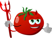 Devil tomato with thumb up Stock Photography