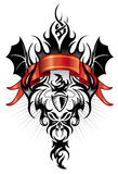 Devil tribal tattoo figure black and red. Ideal for youth events, festivals, concerts, tribal culture concepts, body art, logos, frames, banners, internet and Stock Photo