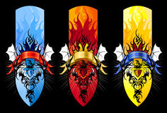 Devil tribal tattoo figure set in colors. Ideal for youth events, festivals, concerts, tribal culture concepts, body art, logos, frames, banners, internet and Stock Image